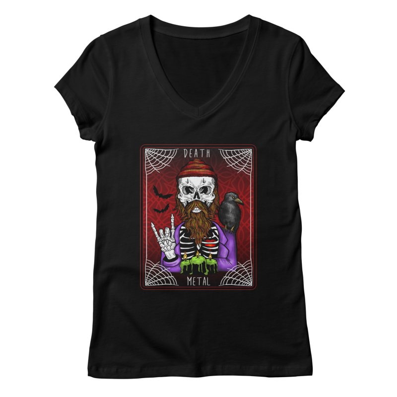 Death Metal Tarot Women's Regular V-Neck by Angela Tarantula