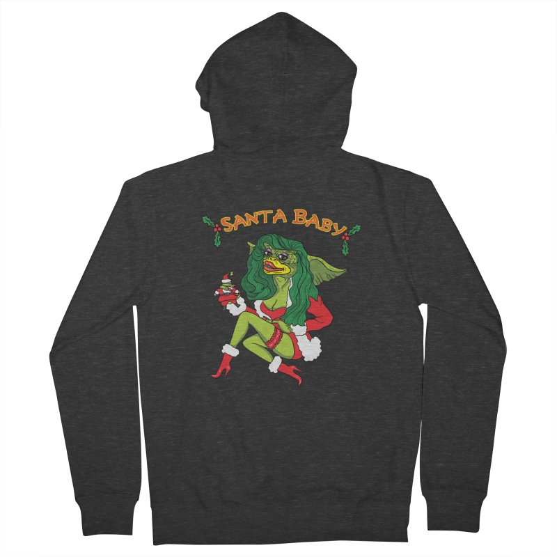 Santa Baby Men's French Terry Zip-Up Hoody by Angela Tarantula