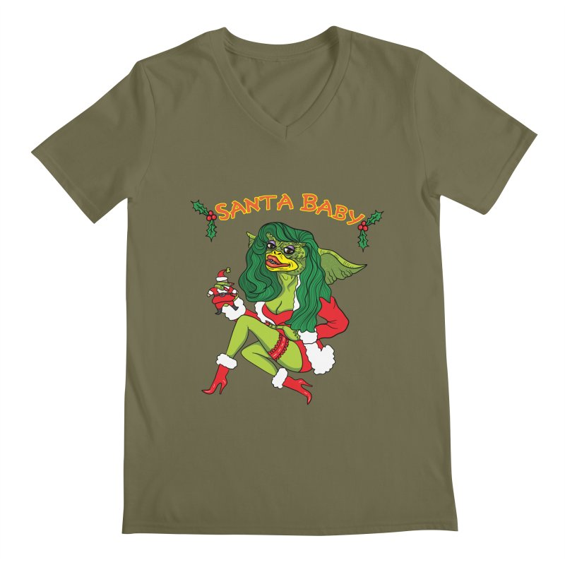 Santa Baby Men's Regular V-Neck by Angela Tarantula