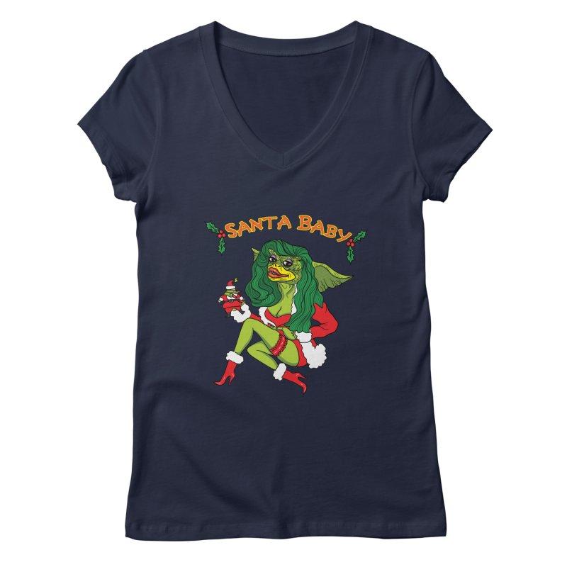Santa Baby Women's V-Neck by Angela Tarantula