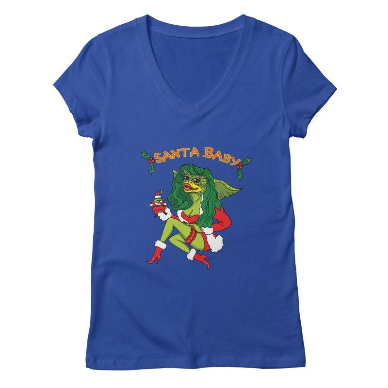 Santa Baby Women's Regular V-Neck by Angela Tarantula