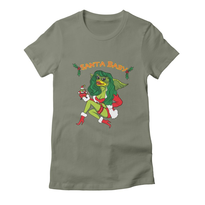 Santa Baby Women's Fitted T-Shirt by Angela Tarantula