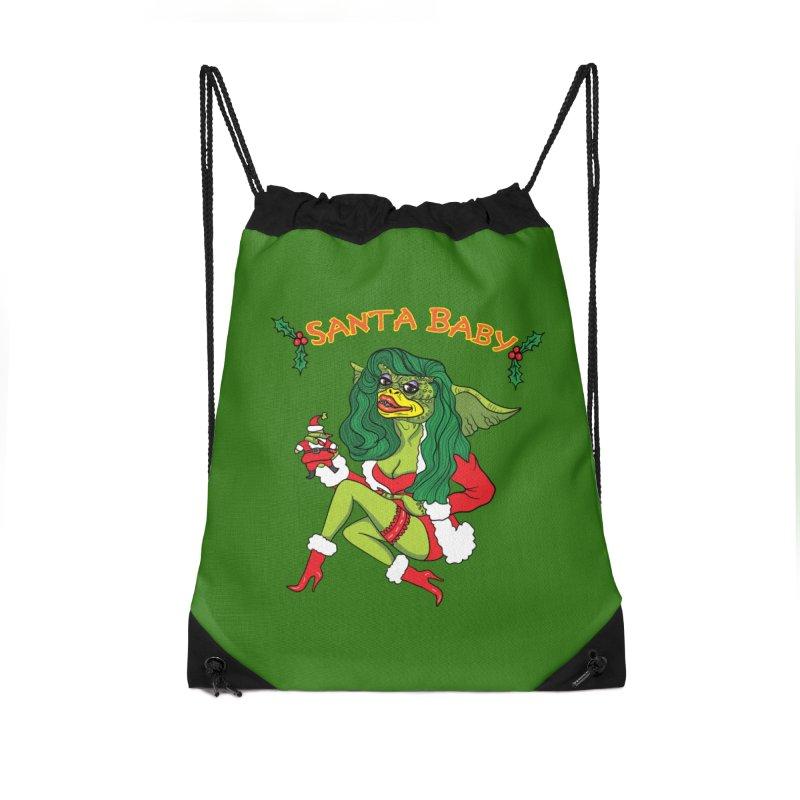 Santa Baby Accessories Drawstring Bag Bag by Angela Tarantula