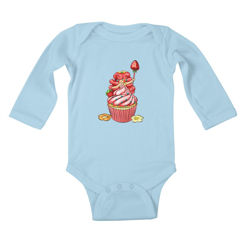 Cupcake Princess Kids Baby Longsleeve Bodysuit by angelielle's Artist Shop