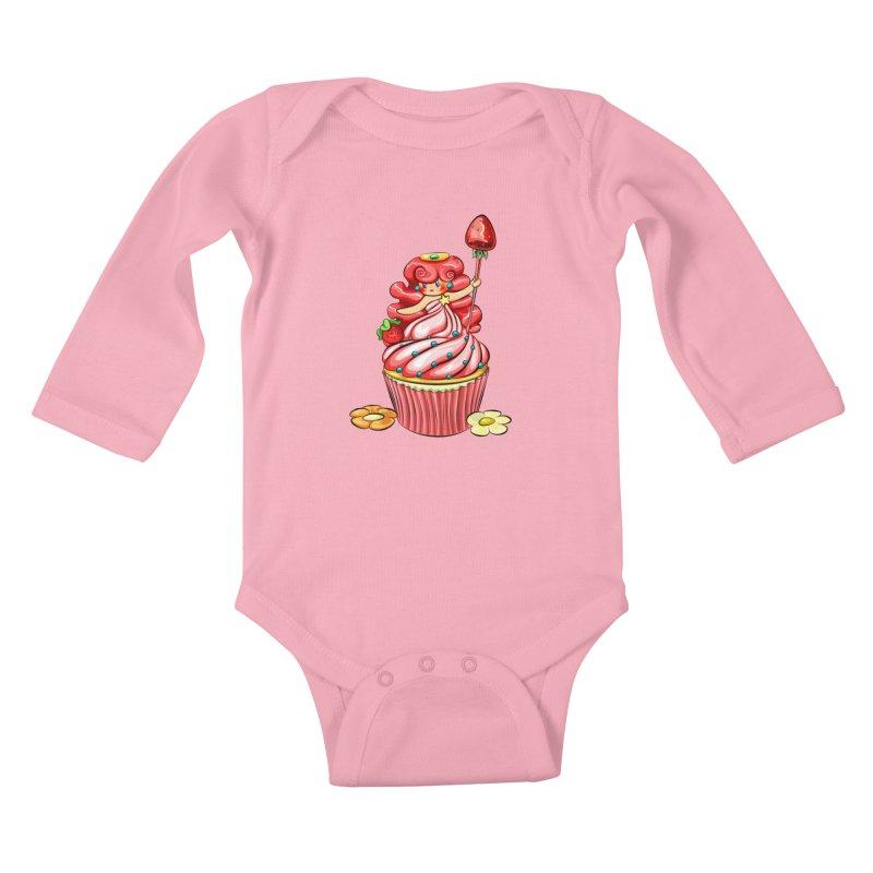 Cupcake Princess Kids Baby Longsleeve Bodysuit by angelielle's Artist Shop