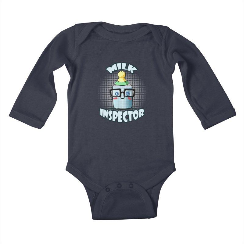 Milk Inspector Kids Baby Longsleeve Bodysuit by angelielle's Artist Shop