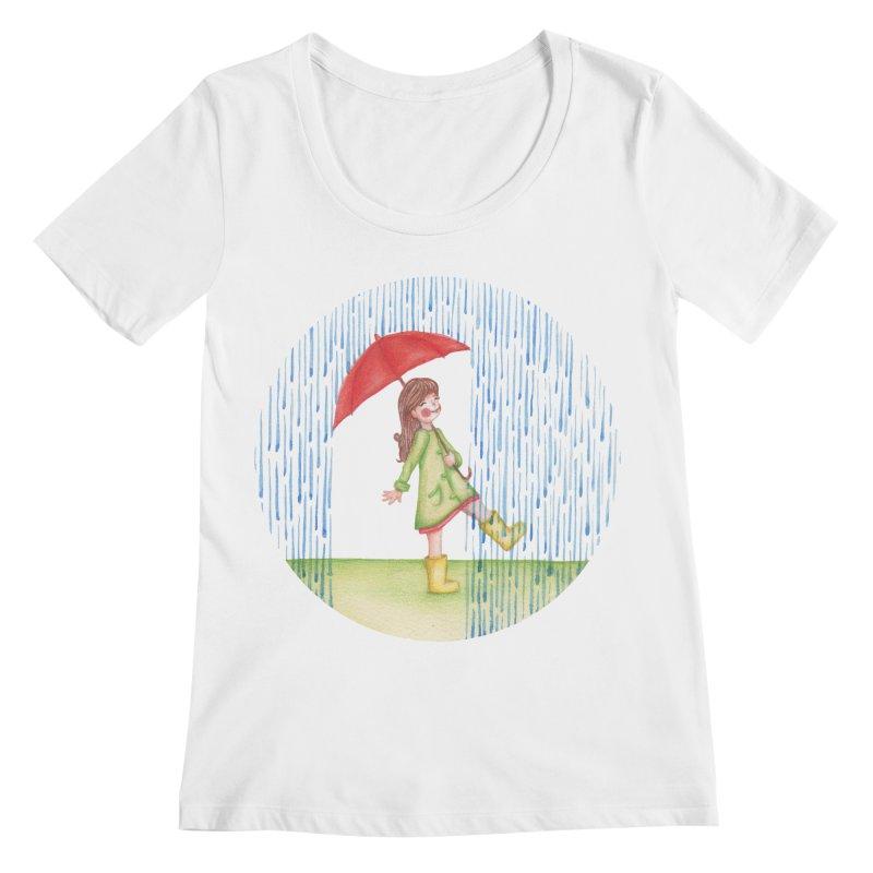 Dancing in the Rain Women's Regular Scoop Neck by Angelilu's Artist Shop