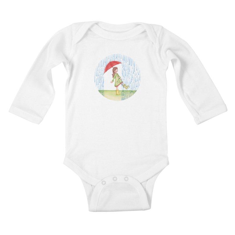 Dancing in the Rain Kids Baby Longsleeve Bodysuit by Angelilu's Artist Shop