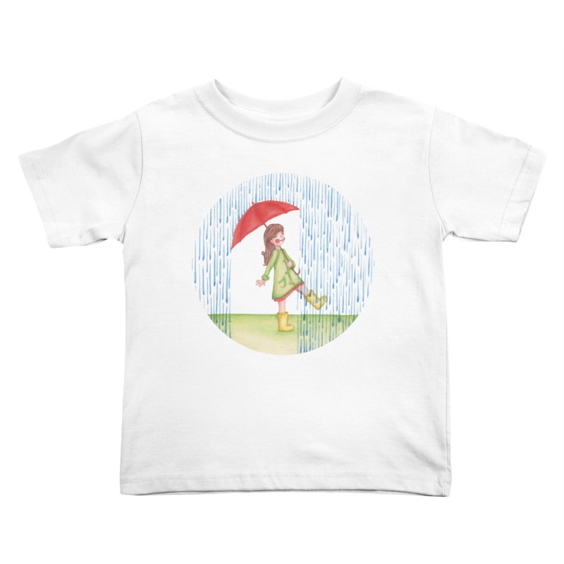 Dancing in the Rain Kids Toddler T-Shirt by Angelilu's Artist Shop