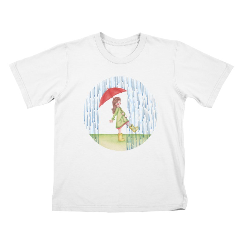 Dancing in the Rain Kids T-Shirt by Angelilu's Artist Shop