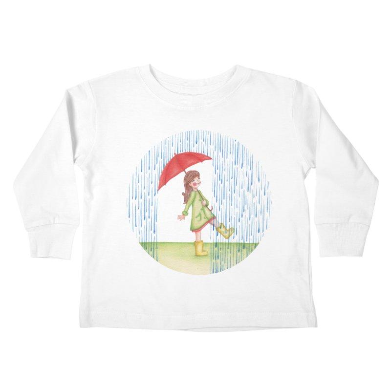 Dancing in the Rain Kids Toddler Longsleeve T-Shirt by Angelilu's Artist Shop