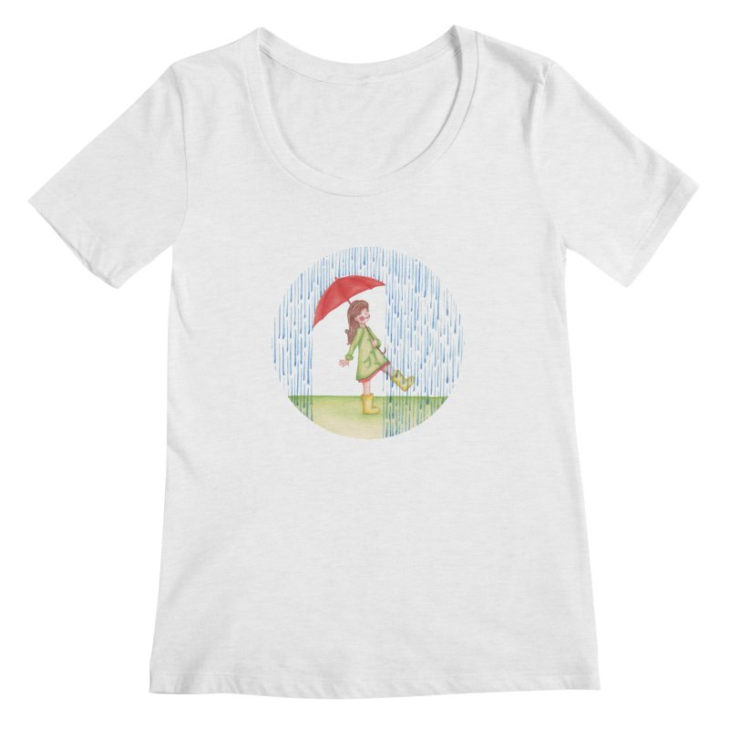 Dancing in the Rain Women's Regular Scoop Neck by Angelilu's Artist Shop