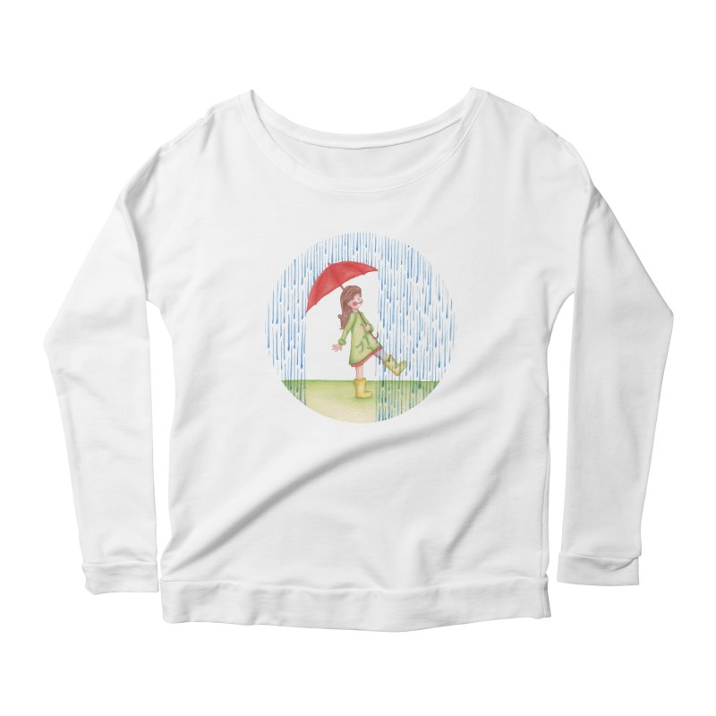 Dancing in the Rain Women's Scoop Neck Longsleeve T-Shirt by Angelilu's Artist Shop