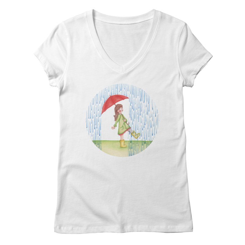 Dancing in the Rain Women's Regular V-Neck by Angelilu's Artist Shop