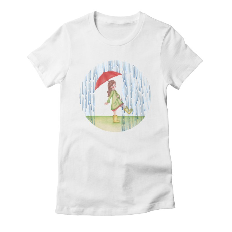 Dancing in the Rain Women's Fitted T-Shirt by Angelilu's Artist Shop