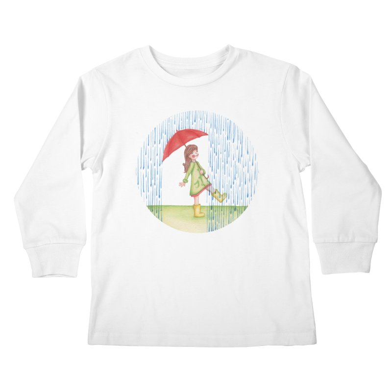 Dancing in the Rain Kids Longsleeve T-Shirt by Angelilu's Artist Shop