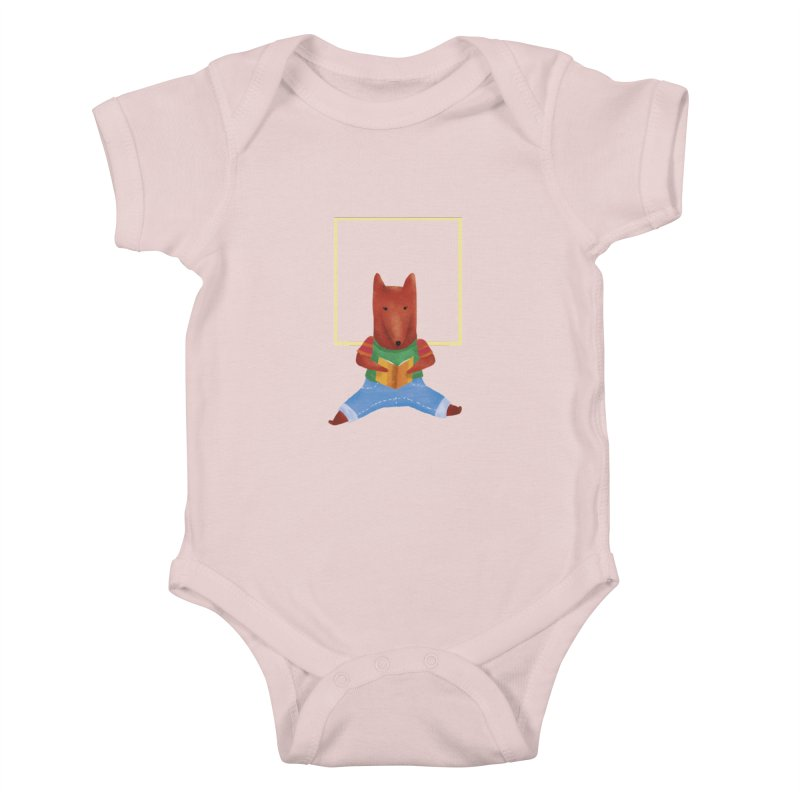 Nina Fox Reading Kids Baby Bodysuit by Angelilu's Artist Shop