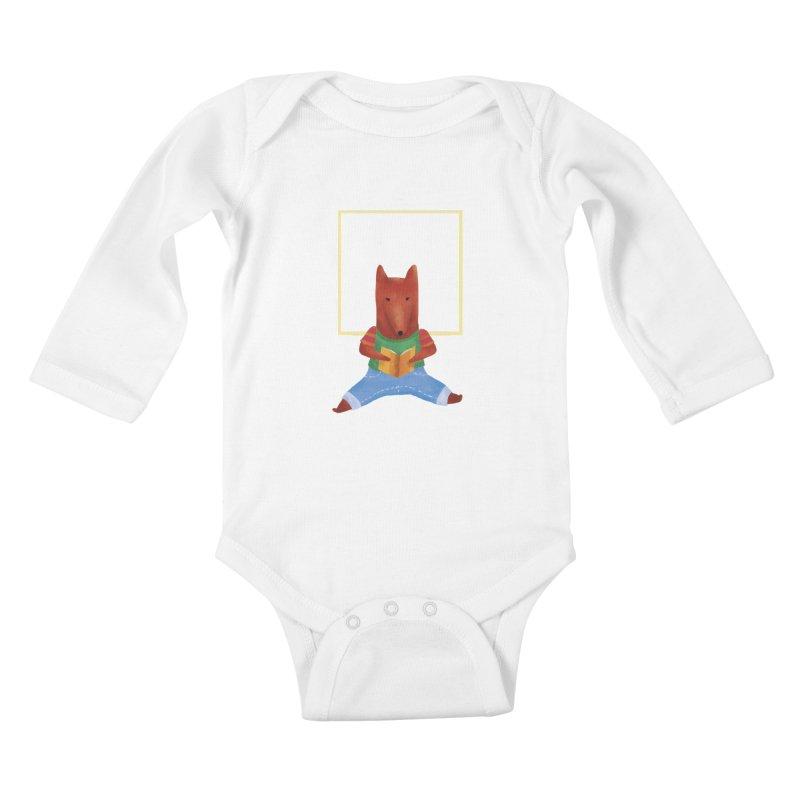 Nina Fox Reading Kids Baby Longsleeve Bodysuit by Angelilu's Artist Shop