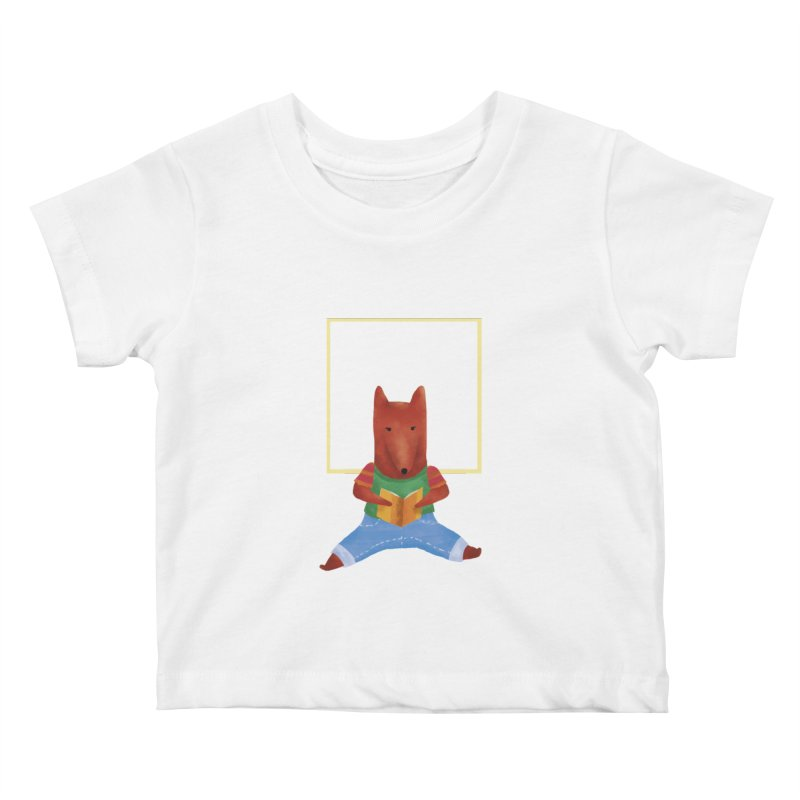 Nina Fox Reading Kids Baby T-Shirt by Angelilu's Artist Shop
