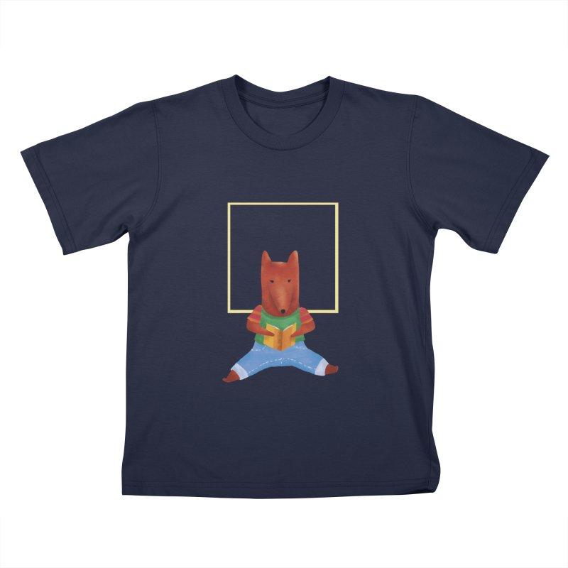 Nina Fox Reading Kids T-Shirt by Angelilu's Artist Shop