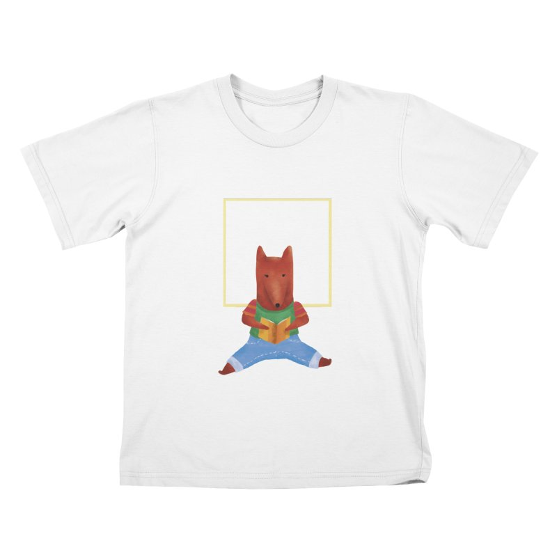 Nina Fox Reading Kids T-Shirt by Angelilu's Artist Shop