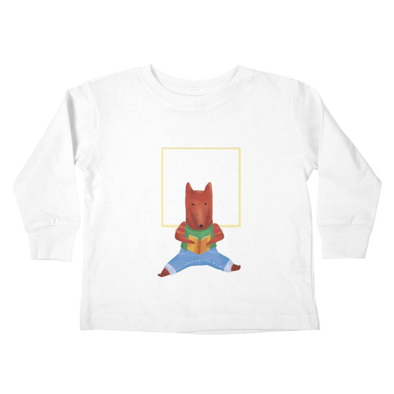 Nina Fox Reading Kids Toddler Longsleeve T-Shirt by Angelilu's Artist Shop