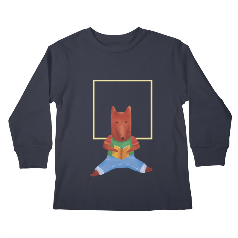 Nina Fox Reading Kids Longsleeve T-Shirt by Angelilu's Artist Shop