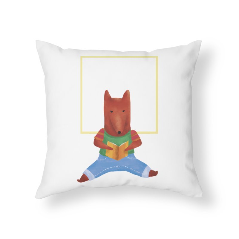 Nina Fox Reading Home Throw Pillow by Angelilu's Artist Shop