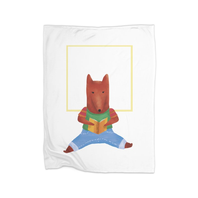 Nina Fox Reading Home Fleece Blanket Blanket by Angelilu's Artist Shop