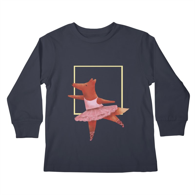 Nina Fox Ballet Kids Longsleeve T-Shirt by Angelilu's Artist Shop