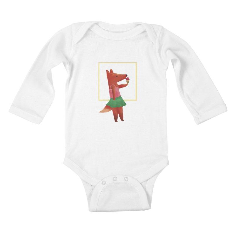 Nina Fox Ice Cream Kids Baby Longsleeve Bodysuit by Angelilu's Artist Shop