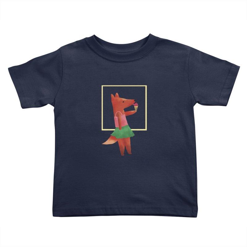 Nina Fox Ice Cream Kids Toddler T-Shirt by Angelilu's Artist Shop