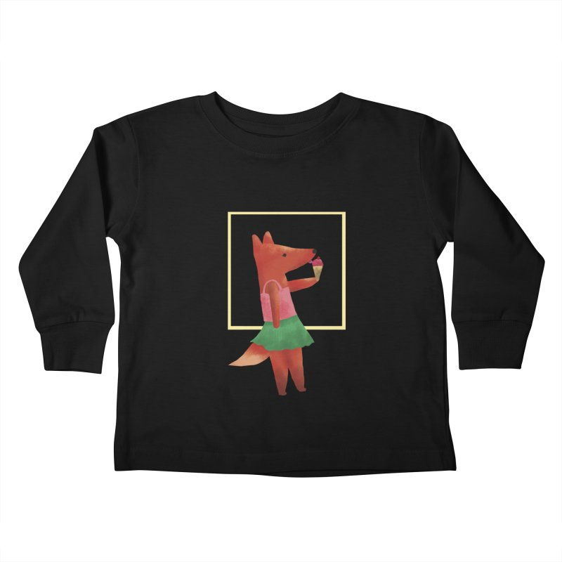 Nina Fox Ice Cream Kids Toddler Longsleeve T-Shirt by Angelilu's Artist Shop