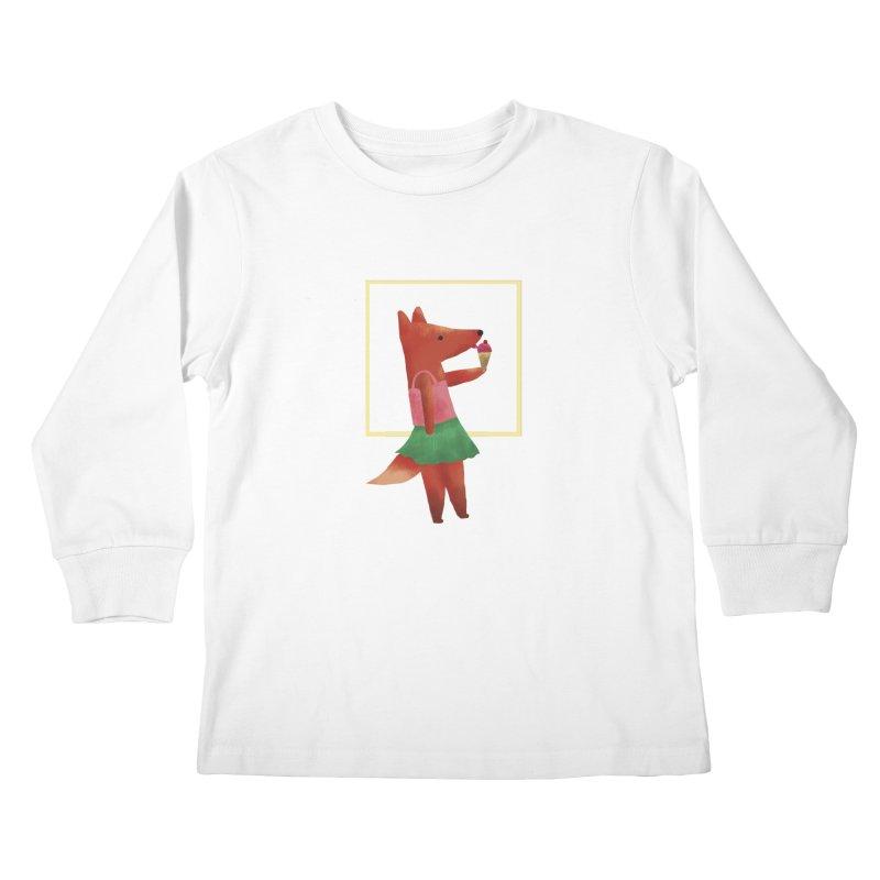 Nina Fox Ice Cream Kids Longsleeve T-Shirt by Angelilu's Artist Shop