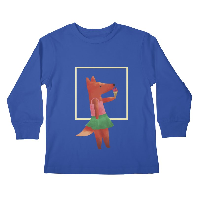 Nina Fox Ice Cream Kids Longsleeve T-Shirt by Angelilu's Artist Shop