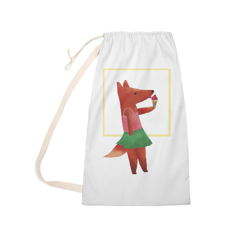 Nina Fox Ice Cream Accessories Laundry Bag Bag by Angelilu's Artist Shop