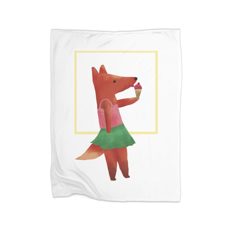 Nina Fox Ice Cream Home Fleece Blanket Blanket by Angelilu's Artist Shop