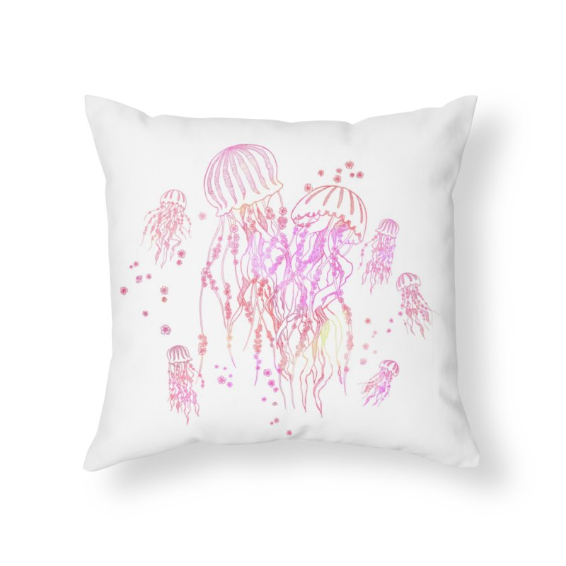 Sakura Jellyfish Home Throw Pillow by Angelilu's Artist Shop
