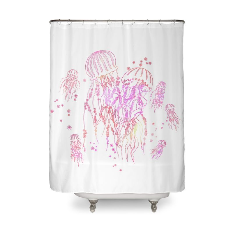 Sakura Jellyfish Home Shower Curtain by Angelilu's Artist Shop