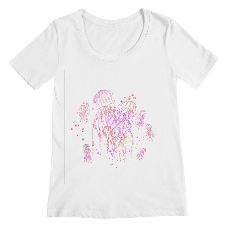Sakura Jellyfish Women's Regular Scoop Neck by Angelilu's Artist Shop