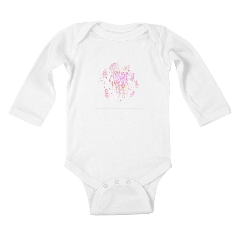 Sakura Jellyfish Kids Baby Longsleeve Bodysuit by Angelilu's Artist Shop