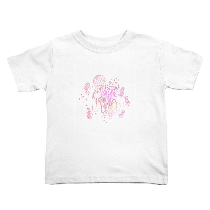 Sakura Jellyfish Kids Toddler T-Shirt by Angelilu's Artist Shop