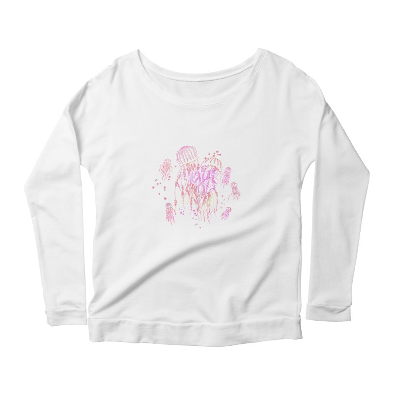 Sakura Jellyfish Women's Scoop Neck Longsleeve T-Shirt by Angelilu's Artist Shop