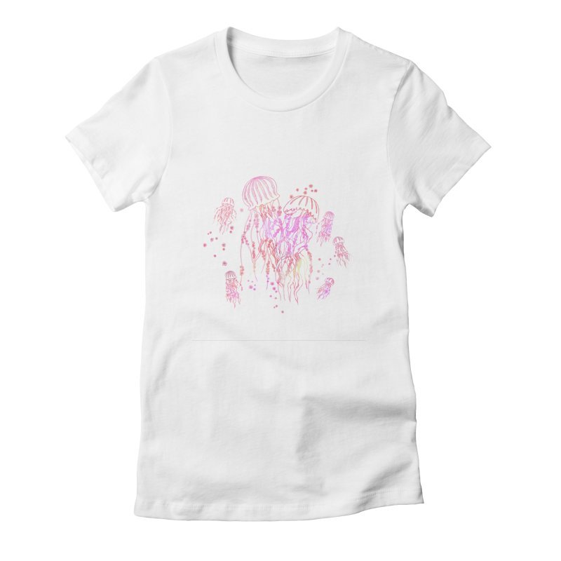 Sakura Jellyfish Women's Fitted T-Shirt by Angelilu's Artist Shop
