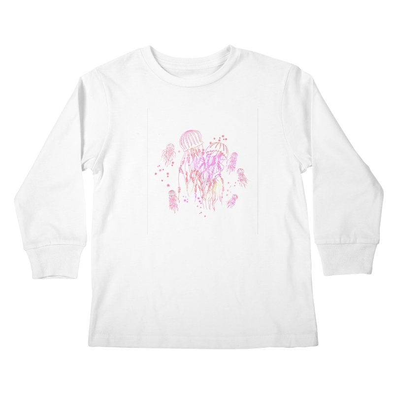 Sakura Jellyfish Kids Longsleeve T-Shirt by Angelilu's Artist Shop