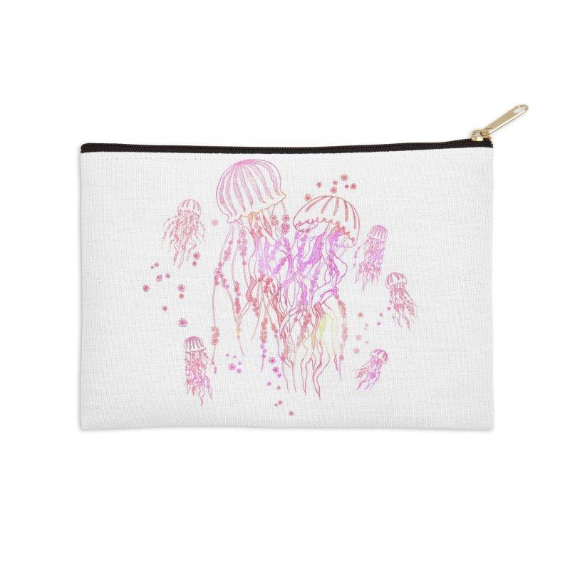 Sakura Jellyfish Accessories Zip Pouch by Angelilu's Artist Shop