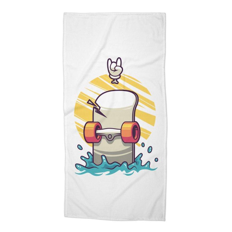 Skate Accessories Beach Towel by anggatantama's Artist Shop