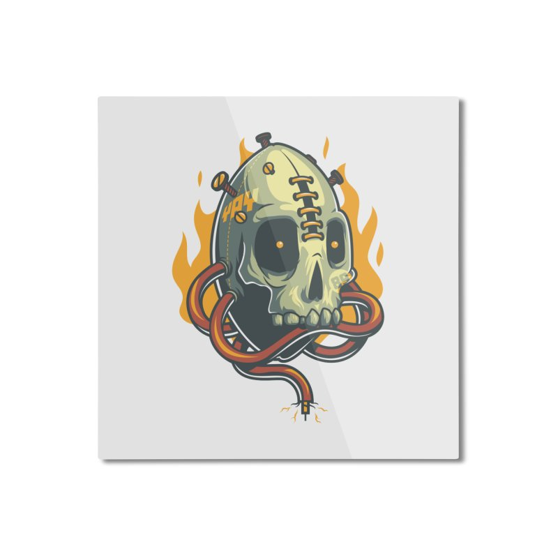 Skull Fire Home Mounted Aluminum Print by anggatantama's Artist Shop