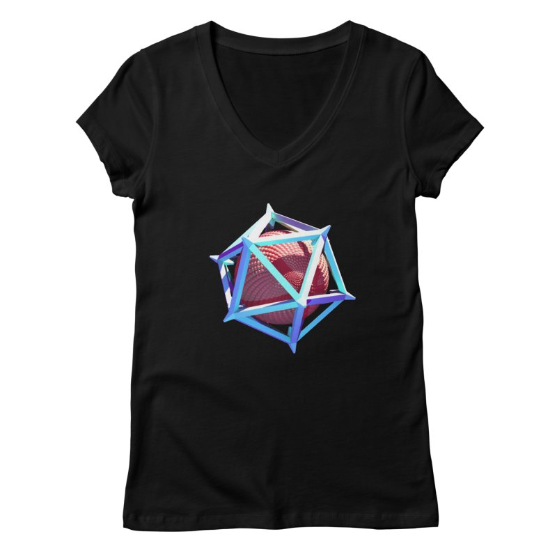 Hollow Icosahedron Women's V-Neck by Angie Jones