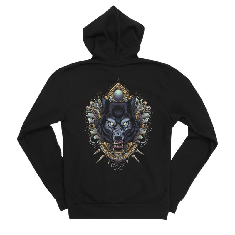 Wolf - Eternal Hunter Men's Zip-Up Hoody by angoes25's Artist Shop
